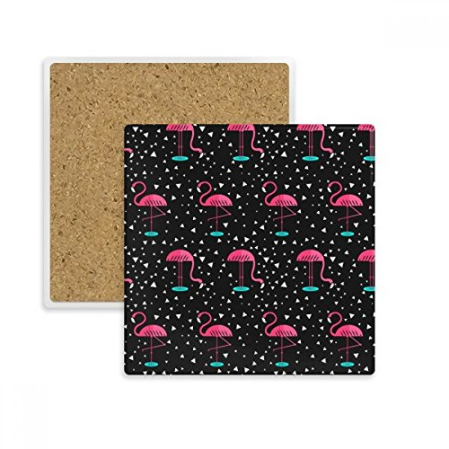 (Flamingo Pattern Pink Black Square Coaster Cup Mug Holder Absorbent Stone for Drinks 2pcs Gift)