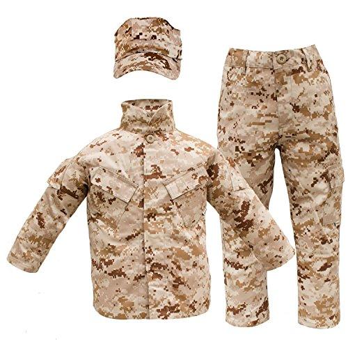Trendy Apparel Shop Kid's US Soldier Digital Camouflage Uniform 3pc Set Costume Cap, Jacket, Pants