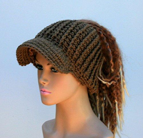 HANDMADE Caffe Latte brown Ponytail hat, Visor Dread Tube cap, billed dread tube, dread band, open back beanie