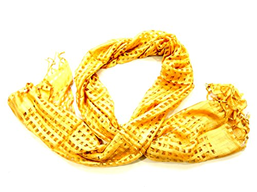 YAPREE HANDMADE SILK SCARF WITH HAND KNOTTED FRINGE GOLD: 84