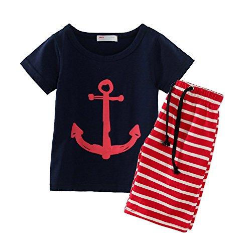 LittleSpring Little Boys' Clothing Short Sets Striped,12 Months,Navy(80) (Boys Halloween Clothes)