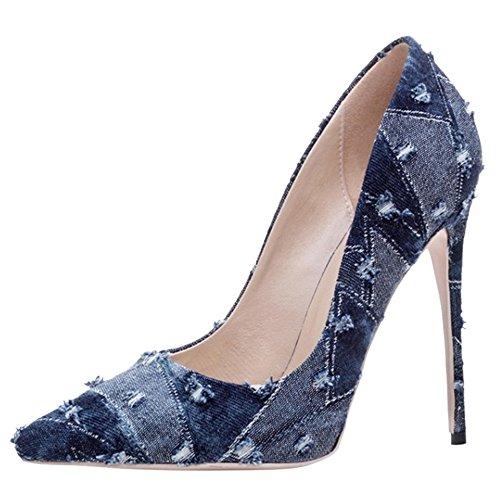 de Aigille Blue Fête Élégante Dark Pointue Coolcept Haut Escarpins Travail Talon Denim Femmes Chaussures vqxYROpS