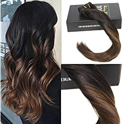 """Sunny Hair 20"""" 7 Pcs 120Gram Per Package Ombre Color #1b Natural Black to #4 Dark Brown Clip in Ombre Hair Extensions Human Hair Clip in Extensions Full Head"""
