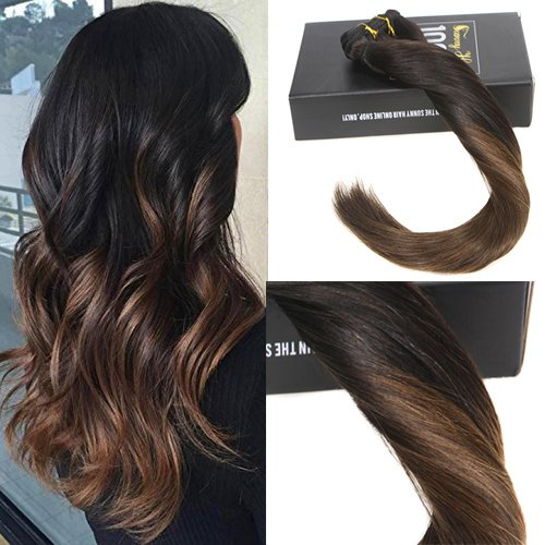 sunny 20inch clip in hair extensions human hair lowlight chestnut brown mixed with. Black Bedroom Furniture Sets. Home Design Ideas