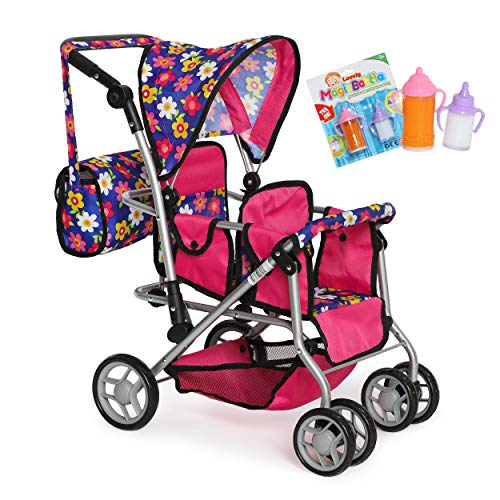 My First Twin Doll Stroller - Double Umbrella Stroller - Baby Doll Accessories - Pink Foldable Doll Pram With Diaper Bag, 2 Magic Doll Feeding Bottles- Fits Up to 18 inch Twin Baby Dolls