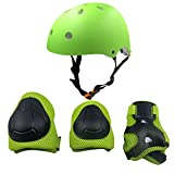 Casa Mall Sports Protective Gear Knee Elbow Wrist Support Pad Set for Kids Youth Roller Bicycle BMX Bike Skateboard Hoverboard Protector Guards Pads (7 Piece, Green)