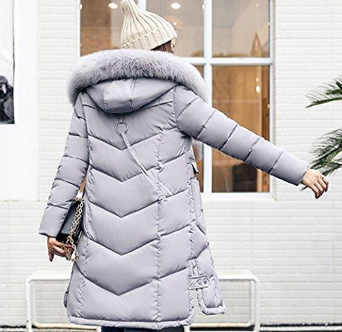 de Gris de capilla piel Larga Escudo chaqueta Puffer acolchado delgada imitación COMVIP Mujeres la la de qZ4Aaw0