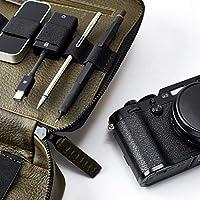 """Estuche Para Gadgets De Piel Verde, Bolsa De Viaje, Porta Tablet iPad Pro 10.5"""", Organizador Para Accesorios Electrónicos, Regalos Para Hombre Con Monograma // GADGET BAG"""