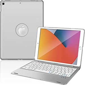 iPad Keyboard Case for New iPad 10.2 8th 2020 & 7th 2019, iPad Air 3 10.5 2019, iPad Pro 10.5 2017, Bluetooth iPad Keyboard with 135° Smart Hard Cover - Silver