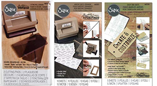 Sizzix Sidekick Tim Holtz Accessories Bundle - Smoke Grey Cutting Pads, Double-Sided Adhesive Sheets and Sticky Grid Sheets - 3 Items