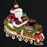 "Polonaise ""All Aboard"" Santa Claus Glass Christmas Ornament #AP0293"