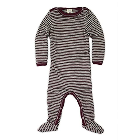 Engel 70% Organic Wool 30% Silk Baby Footed Pajamas Sleep Overall (74/80 (6-12 mo), Grey Melange / Orchid)