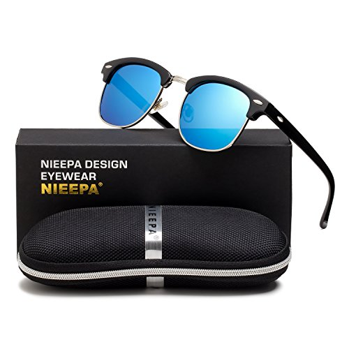 NIEEPA Semi Rimless Polarized Sunglasses Classic Brand Sun Glasses With Metal Retro Rivets (Blue Lens/Bright Black Frame/Silver Rimmed)
