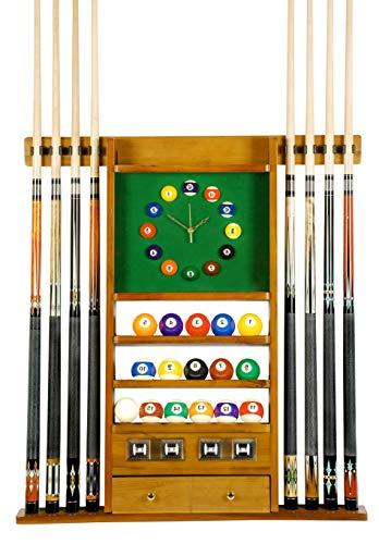 Aromzen Cue Rack Only - 8 Pool - Billiard Stick & Ball Set Wall Rack W Clock Oak Finish ()