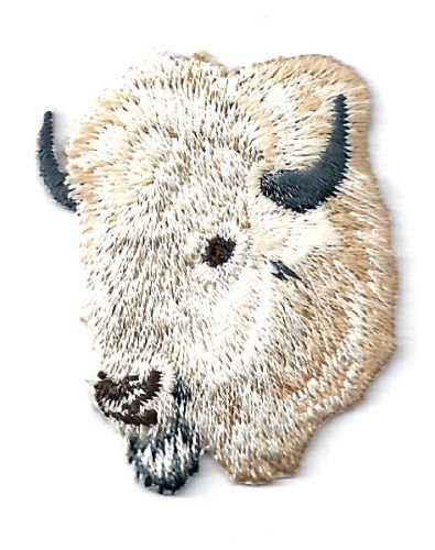 Buffalo - Southwest Buffalo Head - White - Embroidered Iron on Patch - Left Cool Patch Iron On