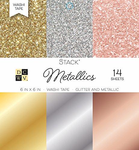 - DCWV Card Stock 6X6 Washi Metallic Stack, 14 Sheets, 6