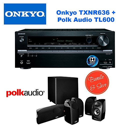 Onkyo Tx Nr636 7 2 Channel Network A V Receiver   Polk Audio 5 1 Tl1600 Speaker System
