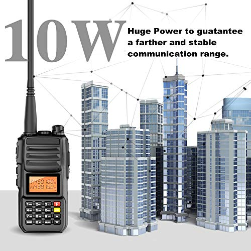 High Power 10W Tri-Band Ham Radio,Portable Long Range Walkie Talkies for Adults,4000mAh Rechargeable Li-ion Battery,200 Channel Two-Way Radios Built-in VOX Amateur Handheld Transceiver with Headset by FEILESS (Image #4)