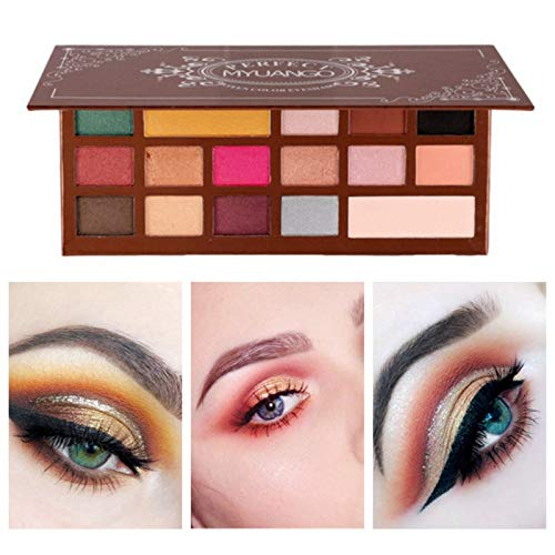 MYUANGO 16 Colors Metallic Eyeshadow Palette Cosmetic Powder Natural Nude Shimmer And Matte High Pigmented Makeup Eye Shadow with 7pcs Makeup Brushes Set Beauty Cosmetic