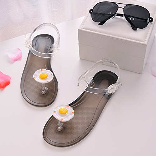Personalized Shoes Toe JUWOJIA White bottom Wear Bottomed Summer grass Joker Flat Fruit Women's of plum Slippers Sandals Lemon New Pxx4BR