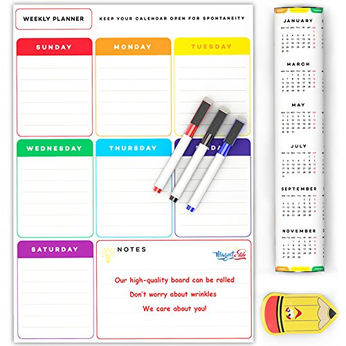 Magnetic Weekly Calendar For Refrigerator : Weekly magnetic refrigerator planner calendar dry erase