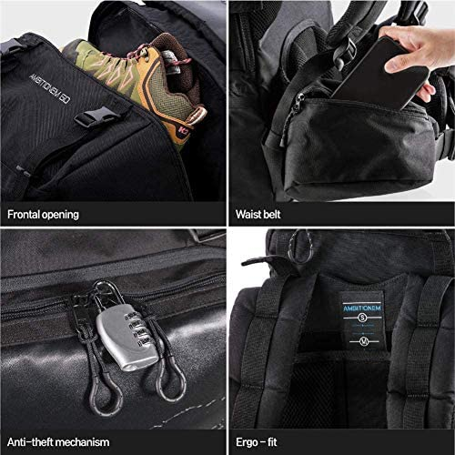 AMBITIONEM Customizing Backpack 40L World Map Travel Backpack Gold color