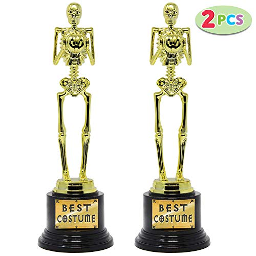 2 Halloween Best Costume Skeleton Trophy for Halloween Skull Party Favor Prizes, Gold Bones Game Awards, Costume Contest Event Trophy, School Classroom Rewards, Treats for Kids, Goodie Bag Fillers ()