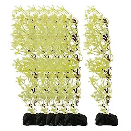 eDealMax acuario de plástico Hoja de imitar Hierba Planta de algas Marinas Aquascape decoración 6pcs