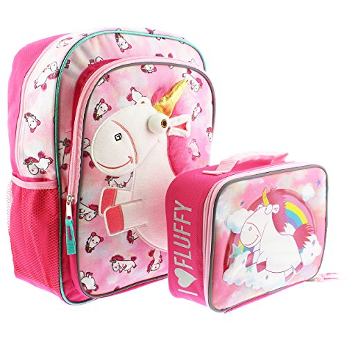 Despicable Me Fluffy Unicorn 16 inch Backpack and Lunch Box Set (Fluffy (Despicable Me Backpack)