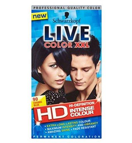 Schwarzkopf Live Color Xxl Hd 90 Cosmic Blue Permanent Blue Hair Dye (Live Color Xxl Colour Intense Cosmic Blue 90)