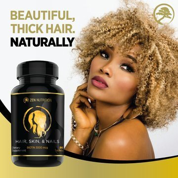 Hair Skin and Nails Supplement | All Natural Multivitamin, 3000mg Biotin For Luscious Thick Hair, Stong Nails and Beautiful, Clear Skin | | Gluten Free Made in USA by Zen Nutrition