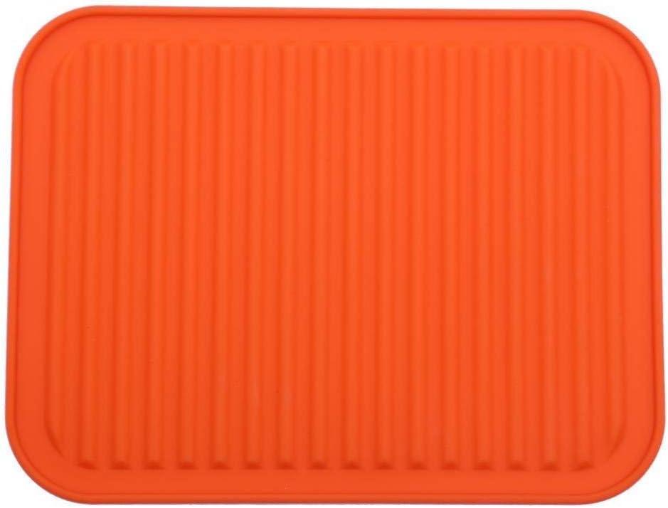 "9"" x 12"" Silicone Pot Holder, Trivet Mat, Baking Gadget Kitchen Table Mat, Silicone Drying Mat, Draining Board - Waterproof, Heat Insulation, Non-Slip,Trivet, Tableware Pad Coasters (Orange)"