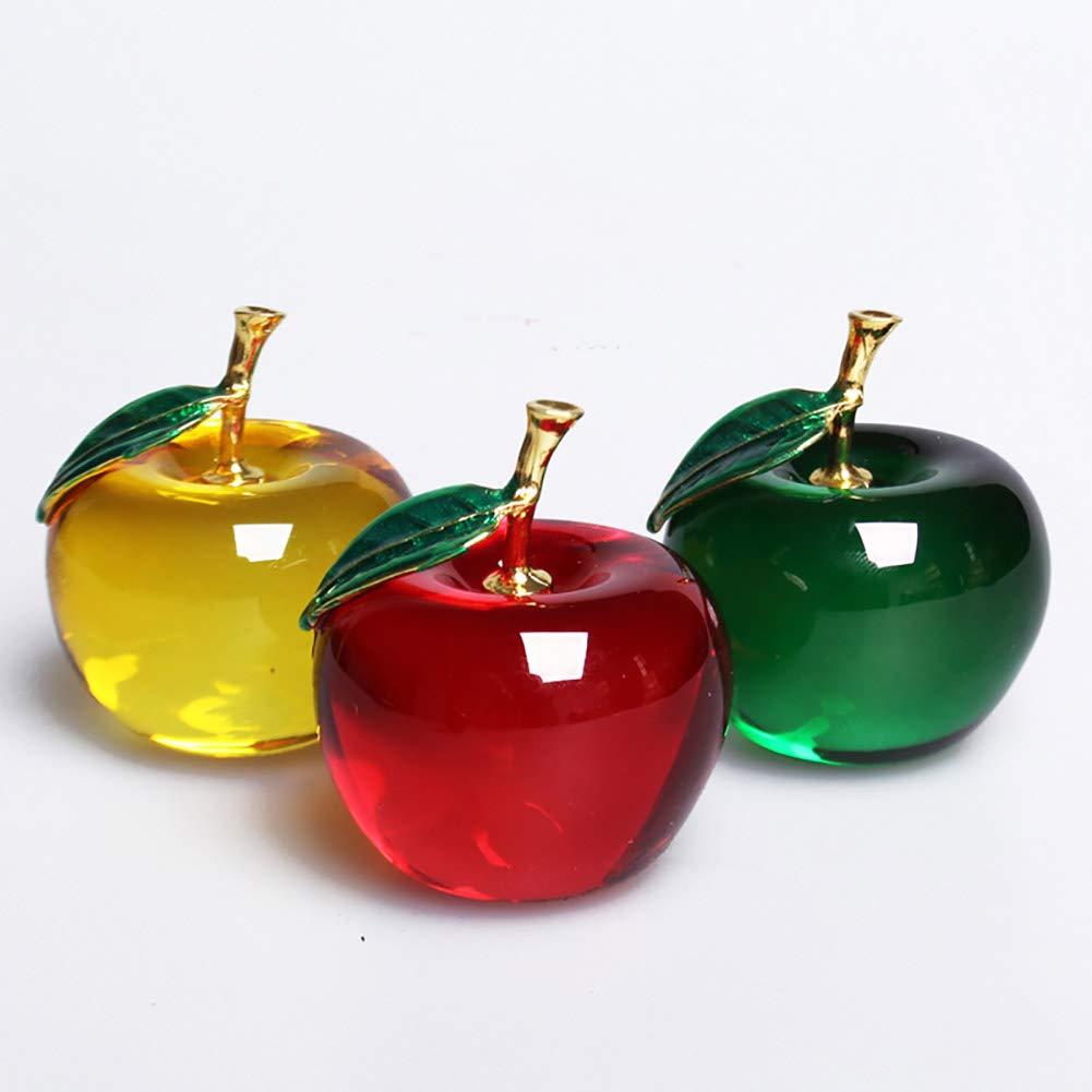 Cristal Romote No/ël en Cristal dApple Paperweight Verre Artisanat D/écoration D/écorations de Voitures Figurine Cadeaux Souvenirs Miniature Feuilles