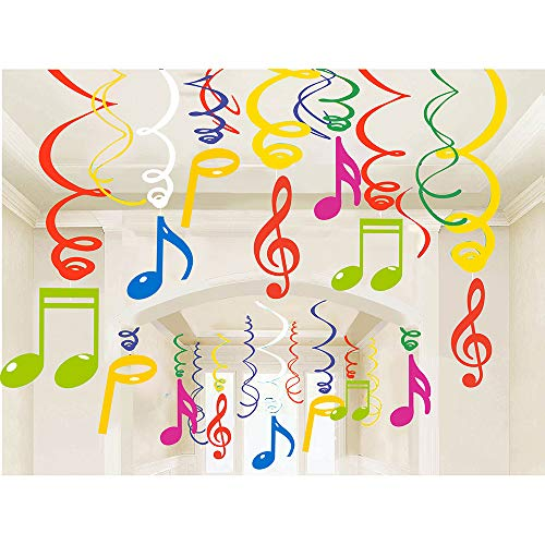 30Ct Colorful Music Sign Hanging Swirl Decorations - Music Sign Birthday Party Supplies Fan Decors -