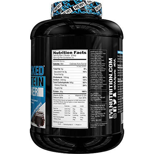 Evlution Nutrition Stacked Protein Gainer, Weight Gainer 7lb Protein Vanilla Ice Cream