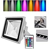 VINGO® LED RGB 50W Fluter Außen Scheinwerfer Wasserdicht Objektbeleuchtung mit Fembedienung