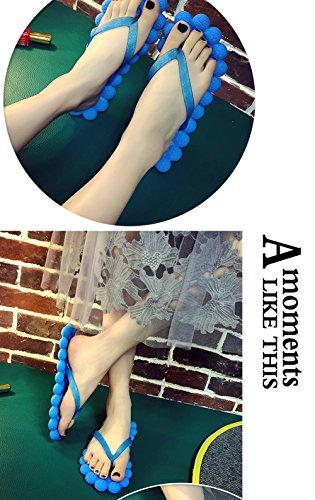 Donne Ragazze Estate Spiaggia Sandalo Casa Casa Bagno Doccia Pantofole Casual Infradito Massaggiatore Scarpe Piatte Blu