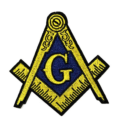 (Masonic Logo Embroidered Patch Iron-on Sew-on Freemason Square Compass Mason Series Emblem Badge Appliques)