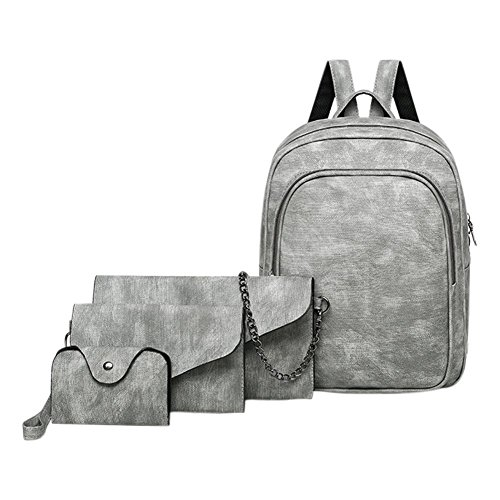 Leather Casual Backpacks Set Shoulder Clutch Women Everpert 4pcs PU Card Grey Handbag Bag CZXwXUq