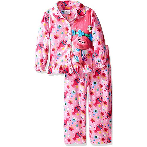 Long Sleeve Coat Style Pajamas (Trolls Poppy Little Girls Flannel Coat Style Pajamas (4T, Poppy)