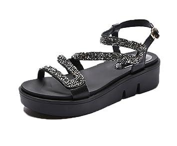 ... de diamantes de imitación de las sandalias de punta abierta sandalias de la señora de las mujeres y zapatillas: Amazon.es: Deportes y aire libre