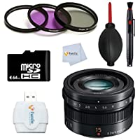 Panasonic H-X015K G LEICA DG SUMMILUX 15mm/F1.7 ASPH Accessory Kit for DJI Inspire 1 with Zenmuse X5 Camera and 3-Axis Gimbal Includes: 64GB Memory Card + Reader + Filter & more
