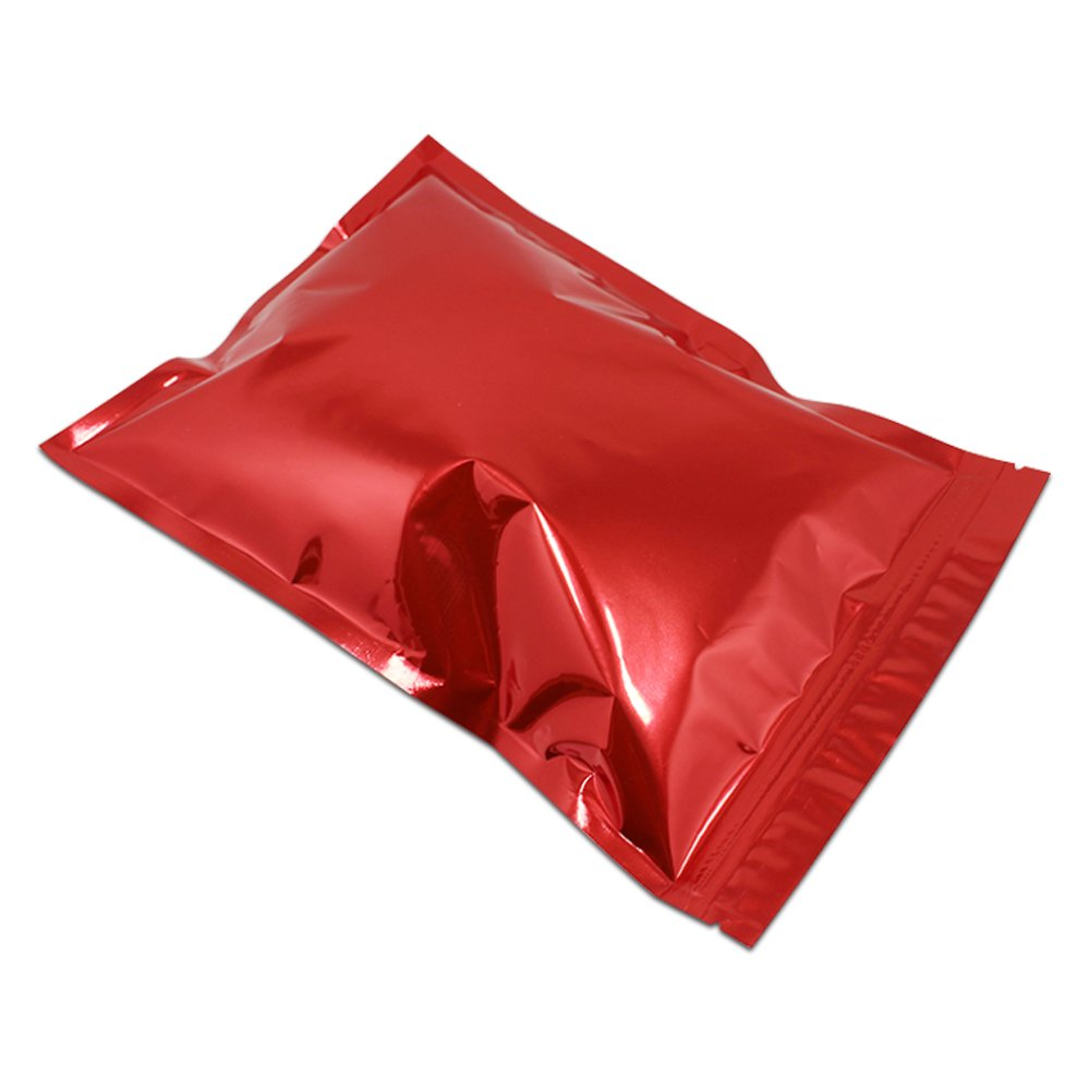 7.1x10.2 inch Resealable Mylar Foil Heat Sealed Self Sealing Packaging Bags Ziplock Aluminium Foil Zipper Reusable Pack Pouch for Baking Herbs Beans Home Kitchen Food Storage Bags Red Color 250 Pieces