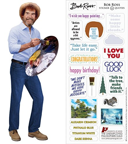 Bob Ross Quotable Notable - Die Cut Silhouette Greeting Card and Sticker Sheet