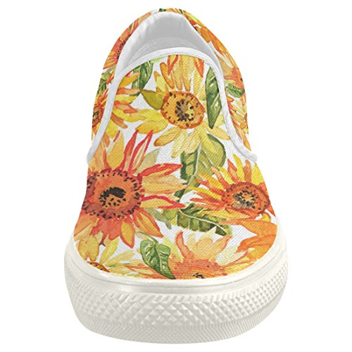 81a6d8516f99 durable service InterestPrint Sunflower Casual Slip-on Canvas Women s  Fashion Sneakers Shoes