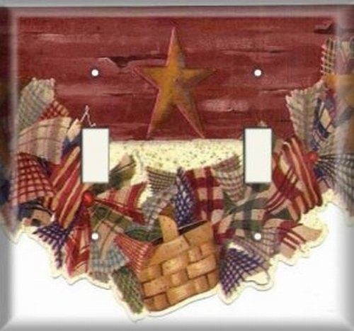 Double Light Switchplate Cover - Hanging American Baskets