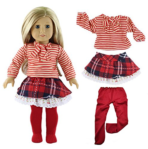 Qinsuee American Girl Doll Clothes Set for American Girl, Our Generation and Other 18 Inch - Upgrade Red T-shirt