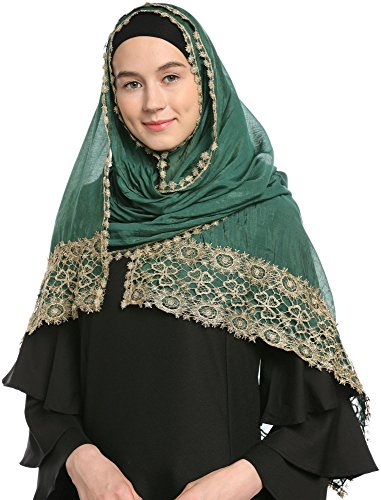 Decorated Wedding Hijab Islamic Hijab (Dark Green)