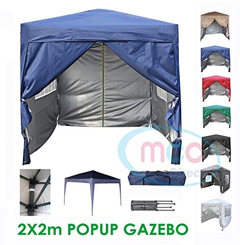 Mcc Gazebo Impermeabile Pop-Up Pieghevole Premier 2x2M Tendone a Baldacchino Con Strato Protettivo d' Argento (WS) [Blu] Mcc®