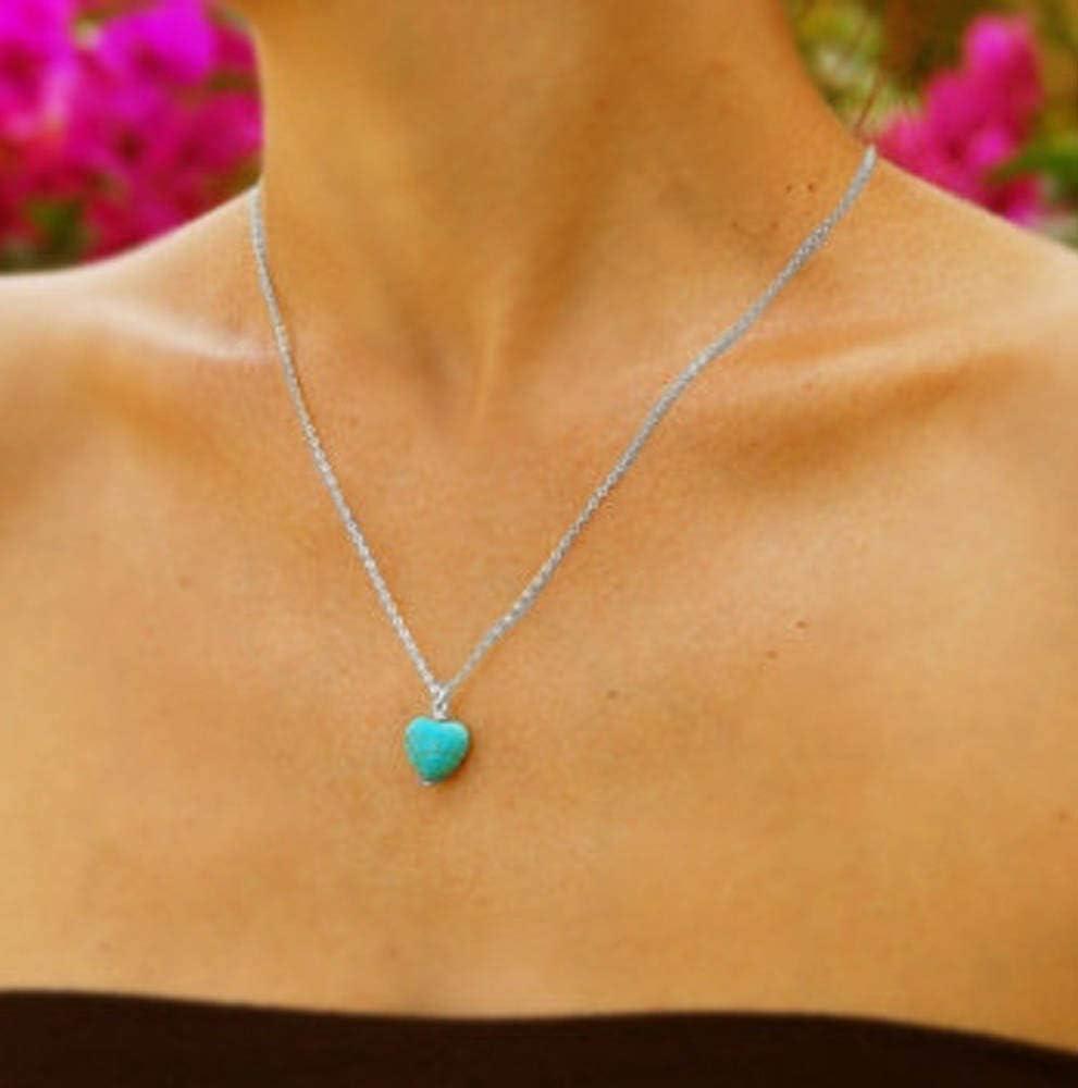 Jovono - Collar con colgante de turquesa azul para mujeres y niñas.